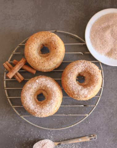 Cinnamon Cake Donuts, fast, easy and delicious, a perfect breakfast, snack or dessert recipe.  Soft homemade baked cake donuts.