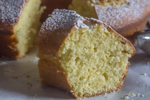 up close fresh cream lemon cake slice