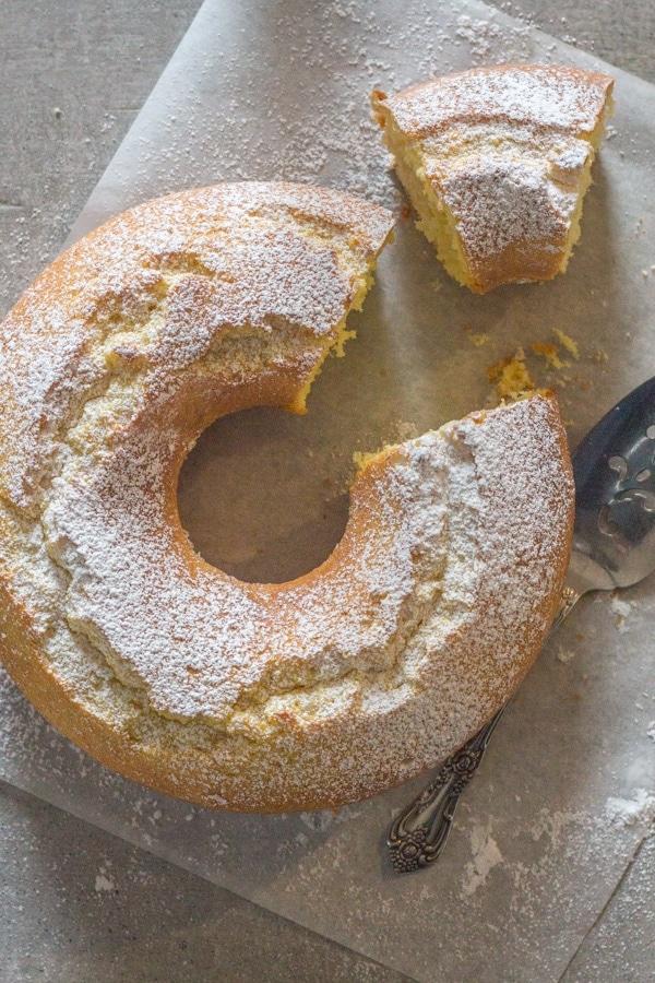 fresh cream lemon cake on a white background