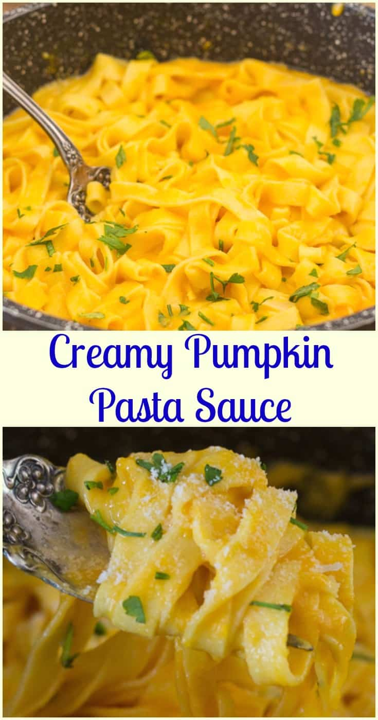 Creamy Pumpkin Pasta Sauce, a delicious fast and easy creamy squash/pumpkin pasta recipe. The perfect weeknight vegetarian dinner.