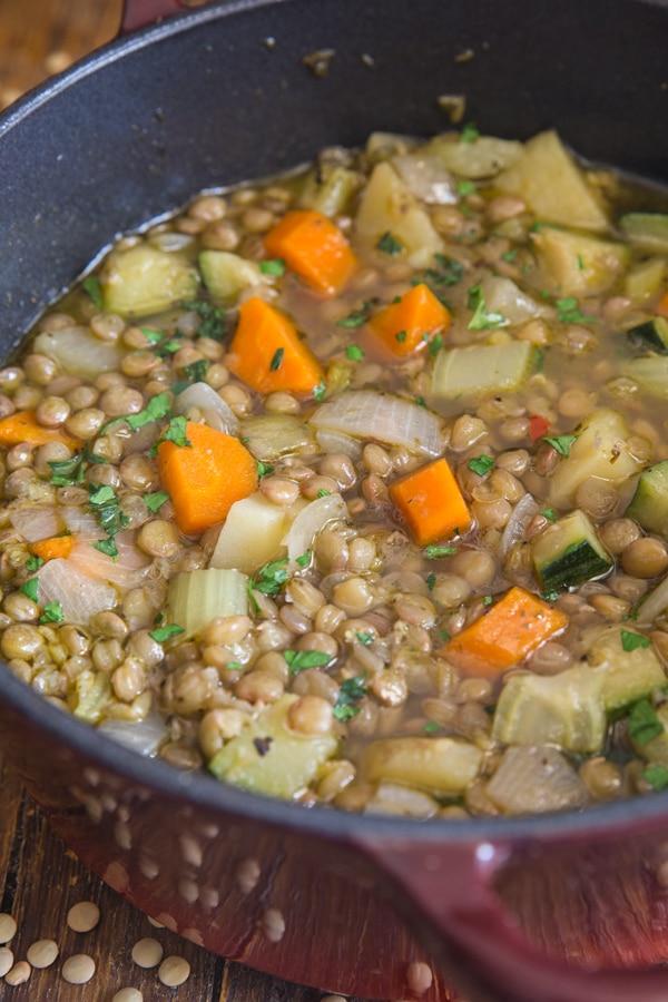 lentil soup in a red pot