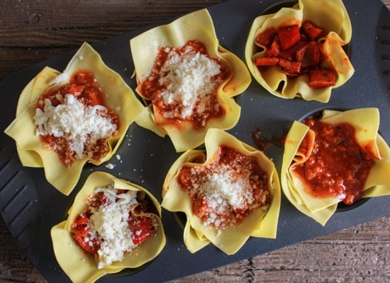 Rustic Lasagna Cups, a fast and easy lasagna recipe, a simple sauce, fresh sauteed veggies, and double cheese, the perfect family or party food. anitalianinmykitchen.com