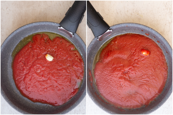 making the sauce in a black pan