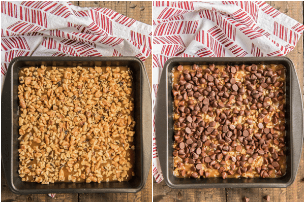 nuts sprinkled on top before and after baking