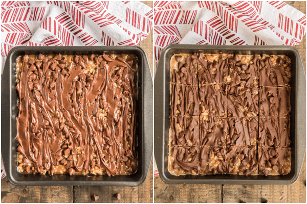 before and after adding the chocolate chips when cooled