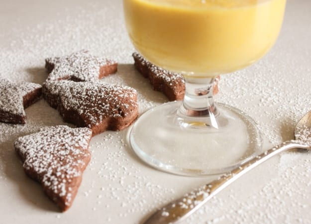 Zabaione, a delicious Italian creamy dessert. If you like eggnog you will love Zabaione, serve it with these yummy Italian chocolate cut-out cookies.|anitalianinmykitchen.com