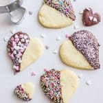 cookie shaped heart cookies on a white board
