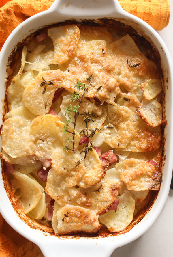Parmesan Potato Ham Bake, a fast and easy cheesy potato side dish recipe perfect for dinner or even Breakfast. Delicious.
