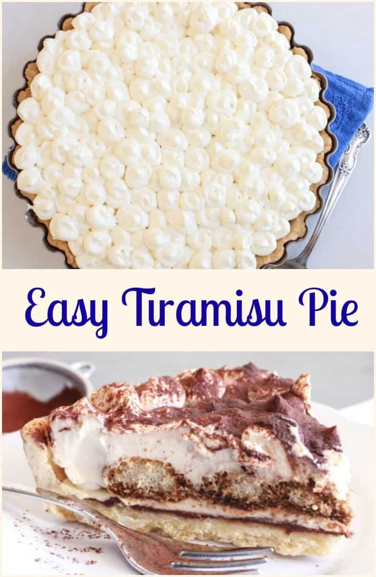 Tiramisu Pie,an easy authentic Italian Tiramisu dessert recipe. this classic dessert can be made with or without eggs. A family favorite.