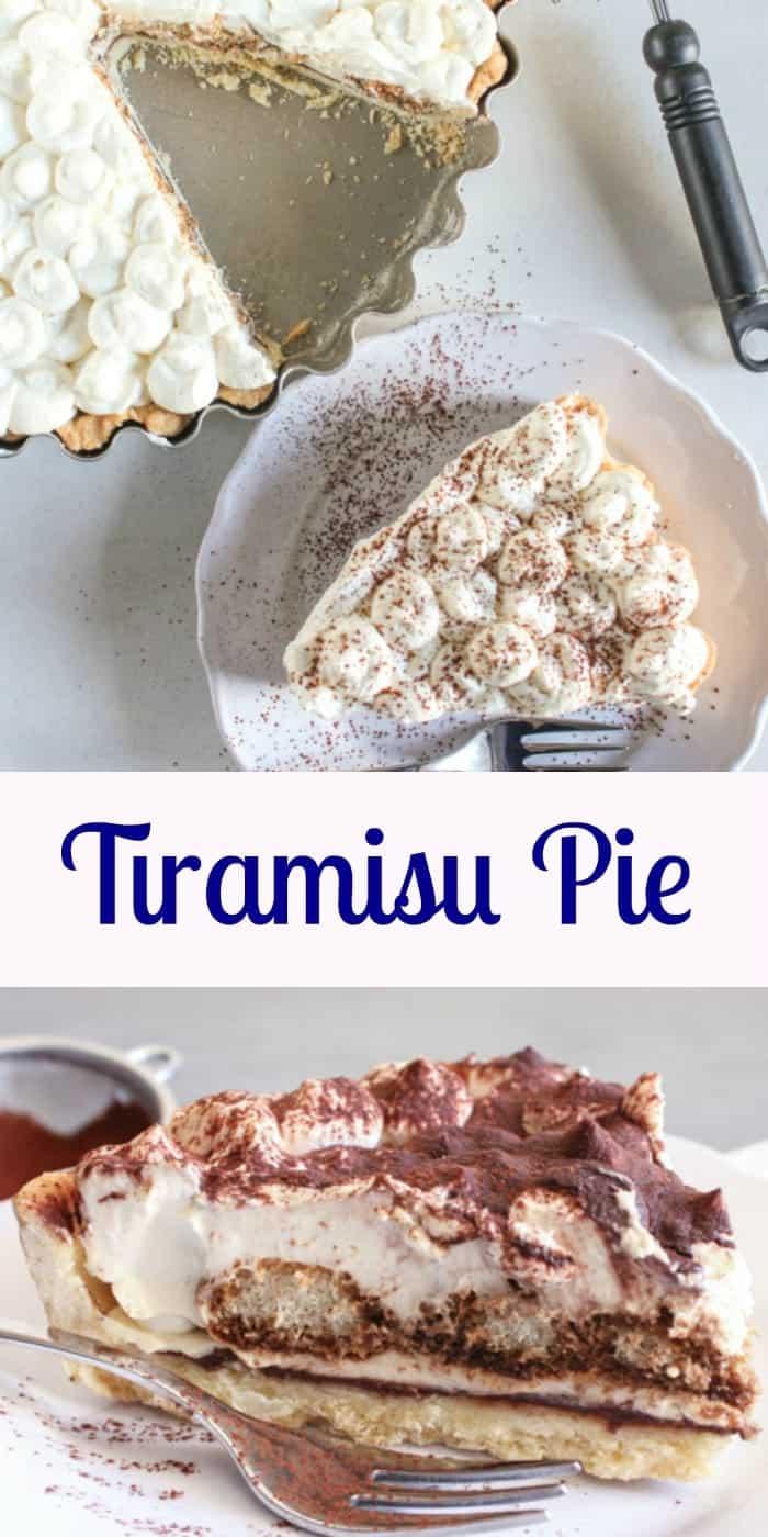 Tiramisu Pie, an easy authentic Italian Tiramisu dessert recipe. this classic dessert can be made with or without eggs. A family favorite dessert.|anitalianinmykitchen.com