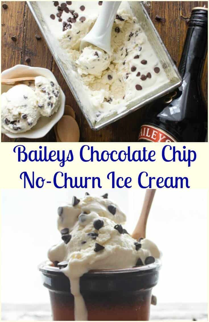 Baileys Chocolate Chip No-Churn Ice Cream, an easy, simple no-churn ice cream recipe. Only four ingredients, creamy and delicious.