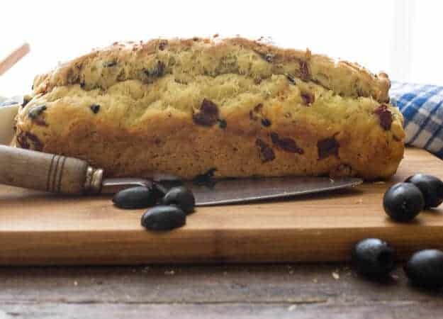 Sun-Dried Tomato Olive Bread, a delicious healthy savory no-yeast Italian bread recipe. Fast and easy, the perfect appetizer or snack.