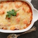 Baked Gnocchi Double Cheese Tomato Sauce is a perfect fast and easy family recipe dish, baked in a simple tomato sauce topped with mozzarella & Parmesan.
