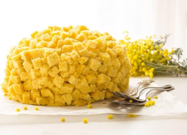 Italian Mimosa Cake, a delicious sponge cake recipe with layers of Italian cream, a classic Italian cake, a delicate creamy dessert. Enjoy. anitalianinmykitchen.com