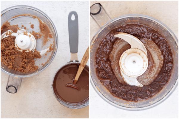 एक खाद्य प्रोसेसर में मिश्रण में चॉकलेट जोड़ें