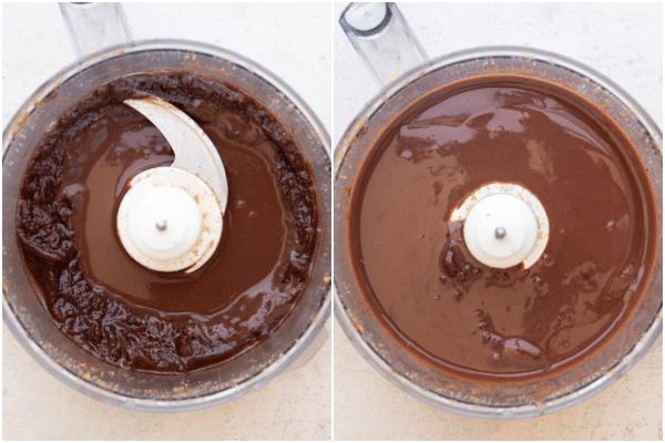 खाद्य प्रोसेसर में पागल को शेष चॉकलेट जोड़ें
