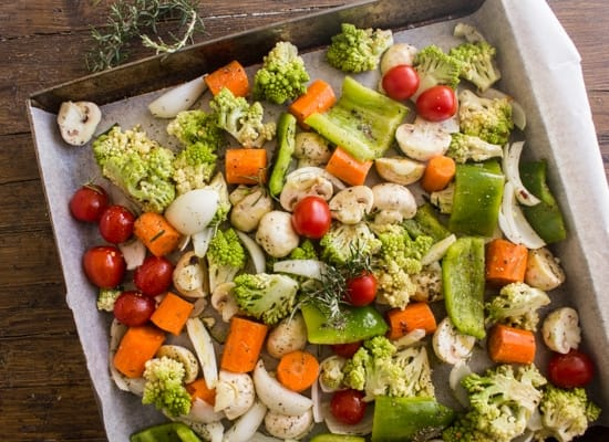 vegetables in a pan ready for roasting