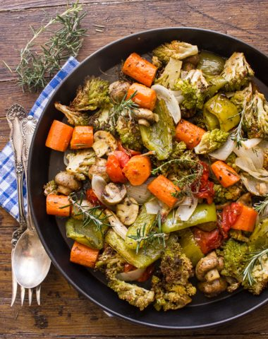 roasted vegetables in a black pan