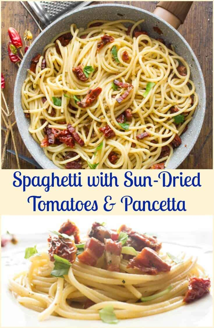 Spaghetti with Sun-Dried Tomatoes and Pancetta, a fast, easy and so tasty Italian Pasta dish recipe.  Ready in 20 minutes.