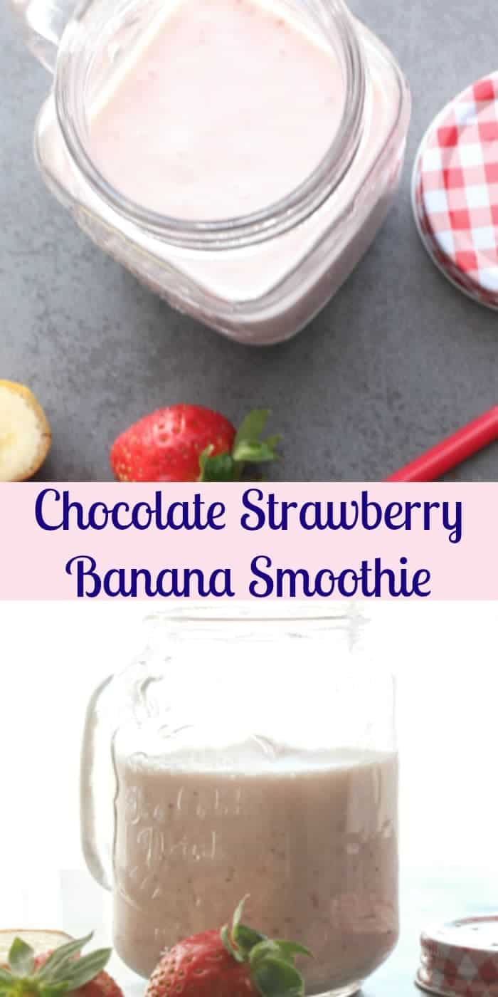 Chocolate Strawberry Banana Smoothie, an easy strawberry smoothie recipe, a perfect snack, kids will love it. Simple, fast and healthy.