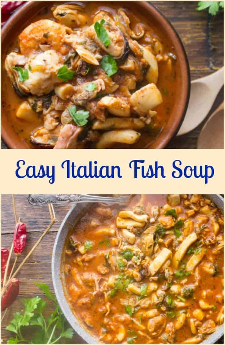 Easy Homemade Italian Fish Soup, full of big pieces of all your favorite fish such as haddock, shrimp, mussels and clams all combined in a perfectly spiced tomato broth. #fishsoup #soup #Italian #comfortfood