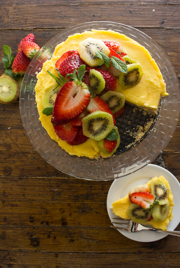 Fresh Fruit Tart with Italian Cream Filling, an easy delicious pie recipe, a graham cracker crust, creamy filling and heaps of fresh fruit.