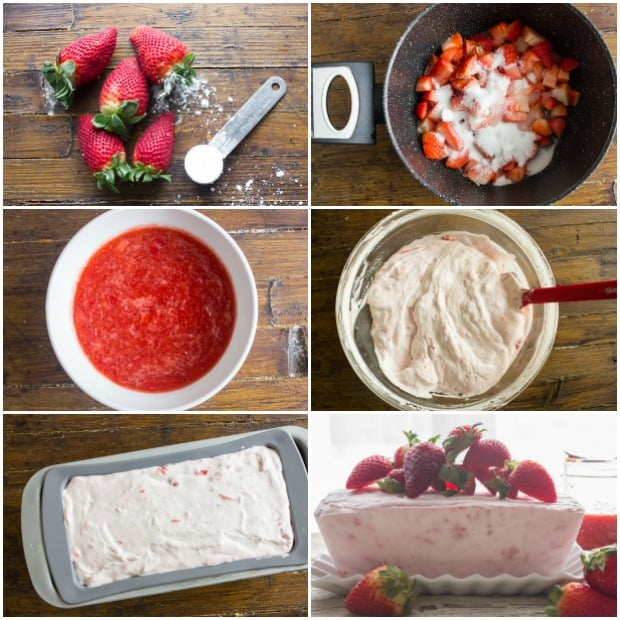 A fast and easy no-bake dessert, Creamy Strawberry Semifreddo. Made with greek yogurt, cream and strawberries. A Perfect summertime recipe.