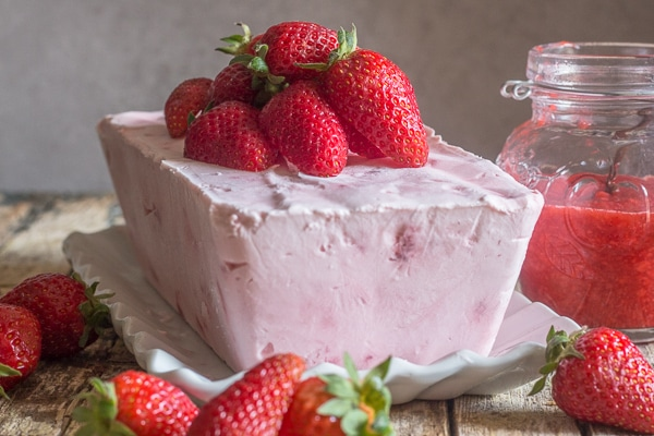 strawberry semifreddo on a white plate