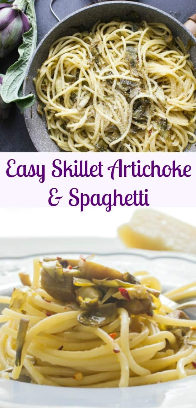 A simple, fast and delicious Easy Skillet Artichoke and Spaghetti Pasta recipe. Italian never tasted so good, and healthy, our whole family loves this dish.