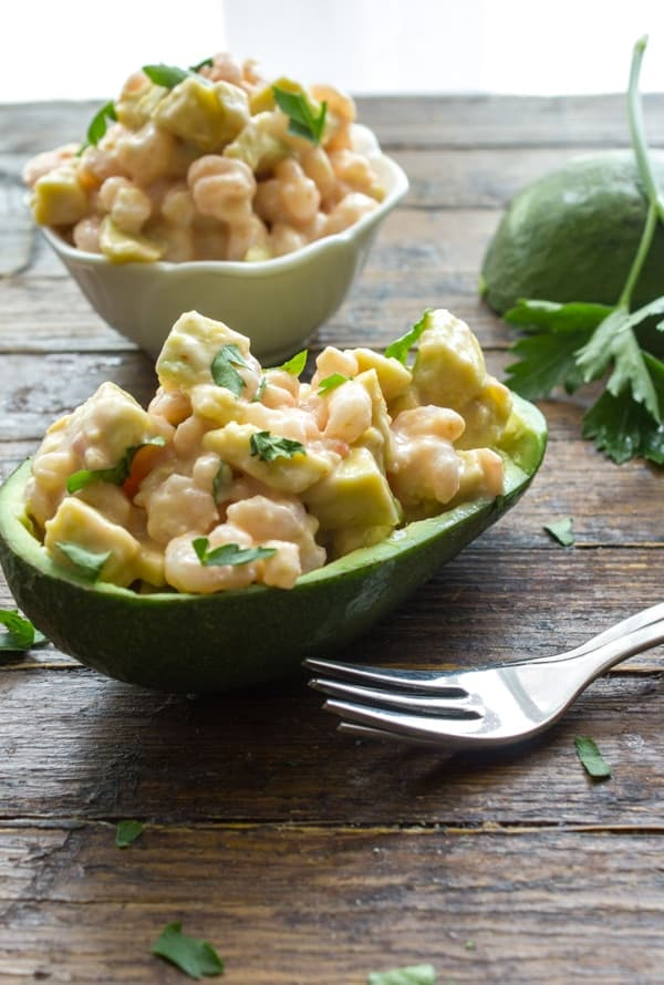Easy Shrimp Stuffed Avocado, a delicious appetizer or main dish recipe, creamy mayo shrimp avocado combination.