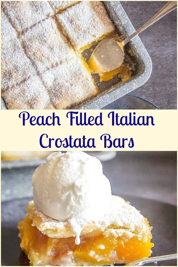 Italian Crostata Bars, an Italian pastry crust filled with a tasty peach filling, an easy fresh or canned Peach recipe.  #peachdessert #peachbars #peaches #bars #cookies #pastryrecipe