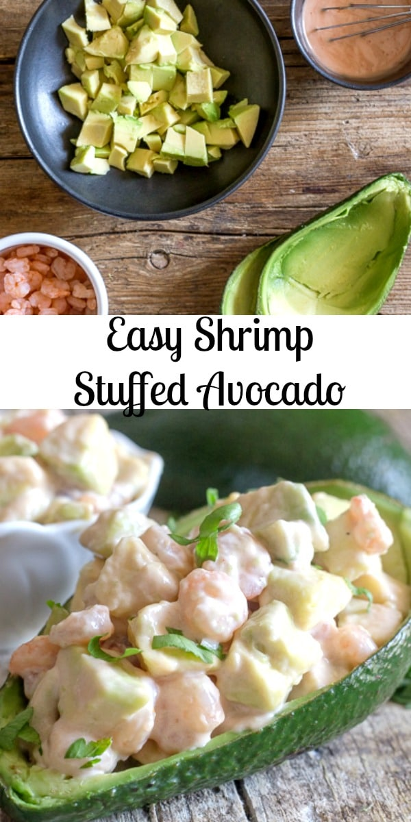Shrimp Stuffed Avocado, made with only five ingredients, a fast and easy appetizer or main dish. The perfect Summer Recipe. #avocado #shrimp #appetizer #maindish #healthyrecipe #fast #easyrecipe