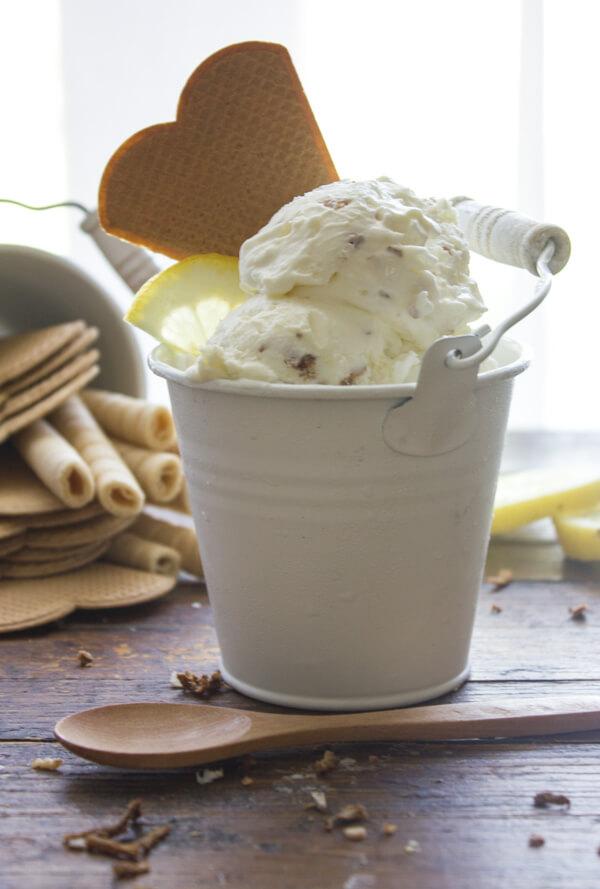 Easy No Churn Toasted Coconut Lemon Ice Cream, an easy homemade ice cream recipe, a refreshing fresh coconut and lemon flavor dessert.