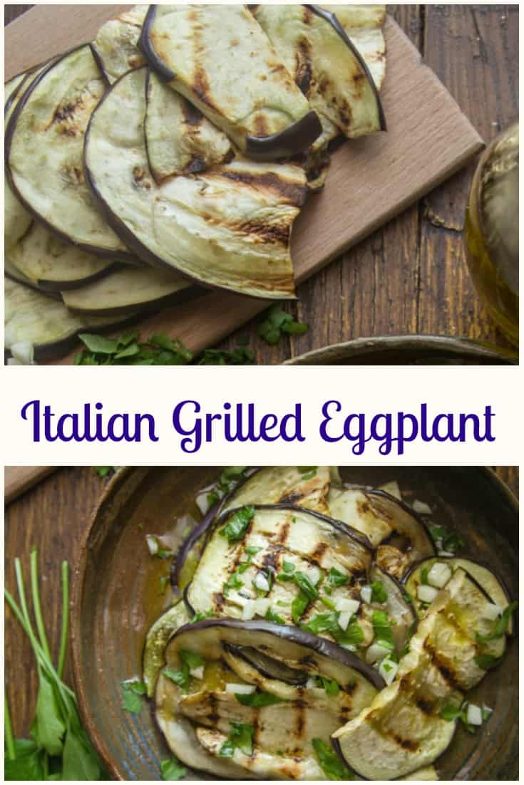 Italian Grilled Eggplant, a fast and easy eggplant appetizer recipe, tossed with fresh spices, olive oil & garlic.  So good. #eggplant #grilled eggplant #bbq #appetizer #Italian