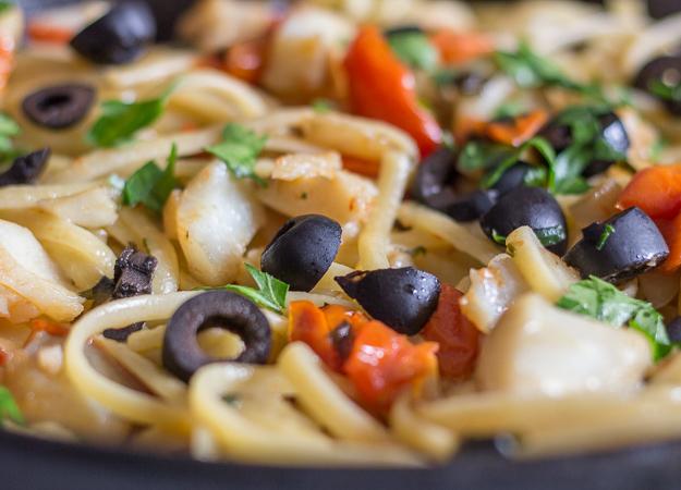 italian baccala linguine up close