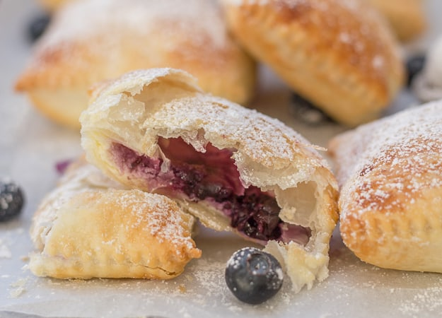 cut open blueberry cream cheese puff pastry