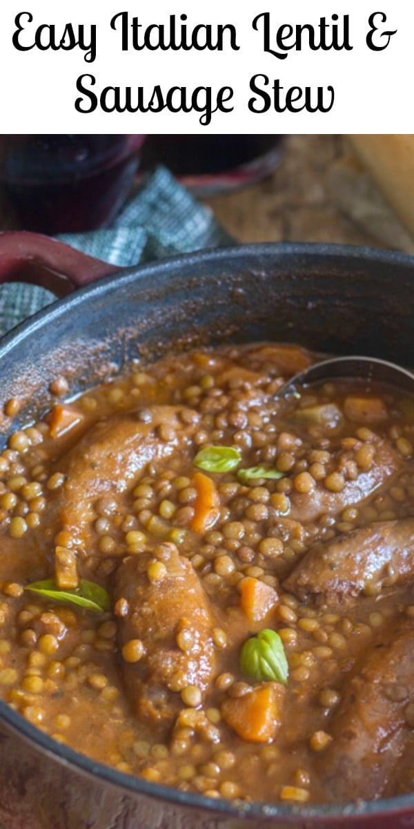 Easy Lentils and Sausage Stew is a Fall Soup made with Italian Sausages, Lentils and Fresh Veggies. Healthy, Filling and Delicious. The Perfect Dinner Stew or Soup. #stew #soup #Italian #goodluckrecipe #lentils #sausage #Italianrecipe #maindish