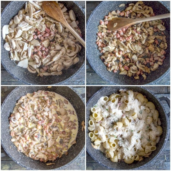 pancetta macaroni hot to make uncooked mushrooms, cooked, cream added, and ready for the oven