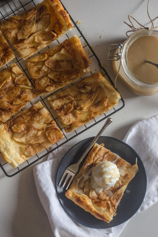 apple tart on a wire rack