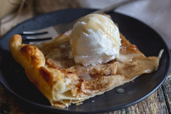 up close slice of rustic cinnamon apple tart