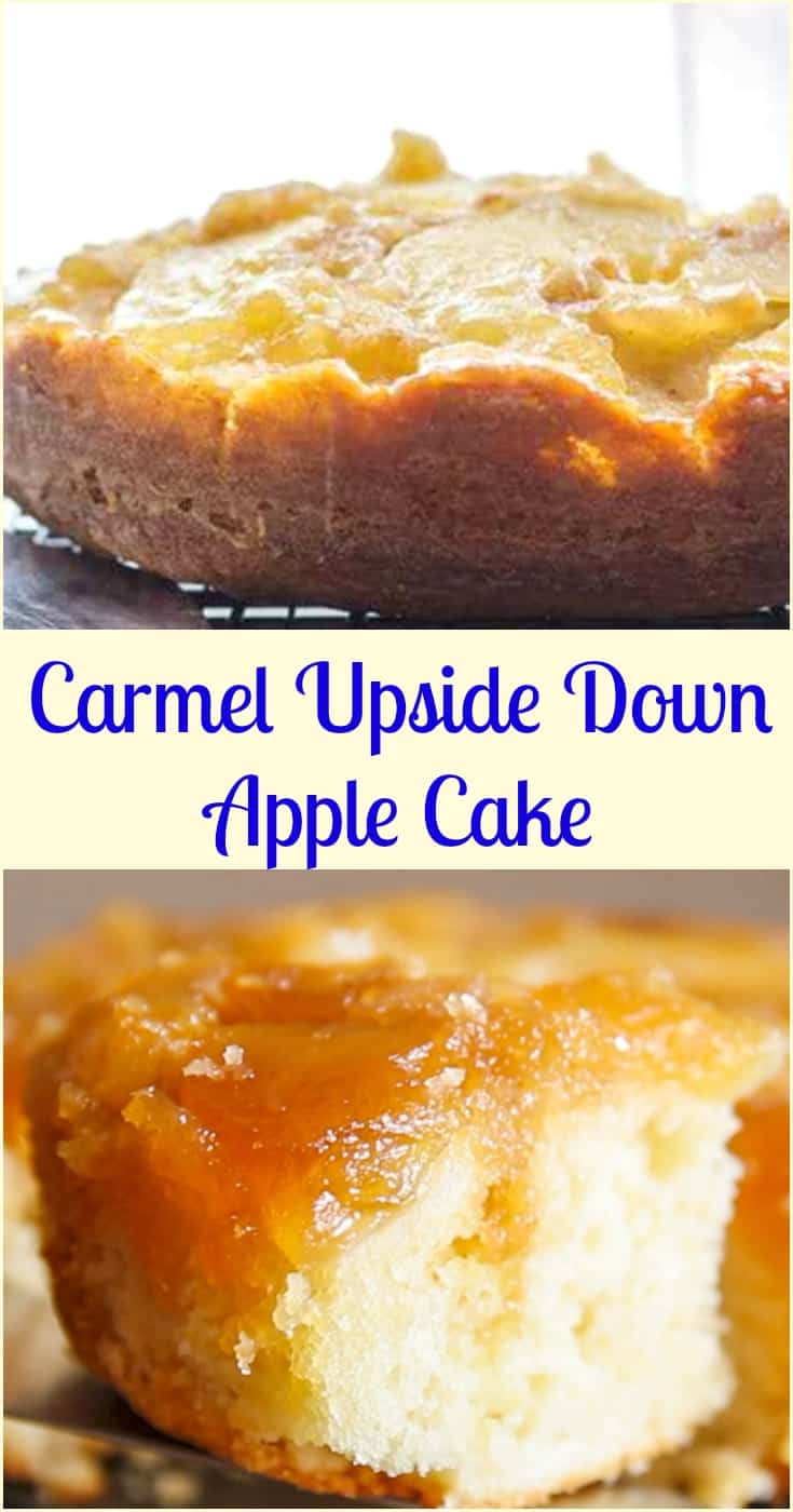 An Easy Caramel Upside Down Apple Cake, a fast and delicious Fall Dessert recipe, brown sugar and cinnamon make this the ultimate Apple Cake. #cake #upside down cake #apple #dessert #apple cake