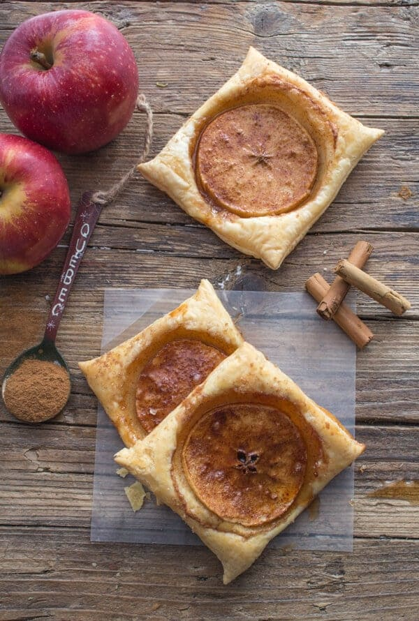 A fast and easy 4 ingredient Fall Dessert, Cinnamon Apple Puff Pastry Squares. Eaten warm from the oven makes these Puffs the Perfect Treat.