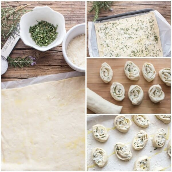 Easy Parmesan Rosemary Pizza Pinwheels,a fast and simple pizza dough is served as an appetizer, snack or with dinner.