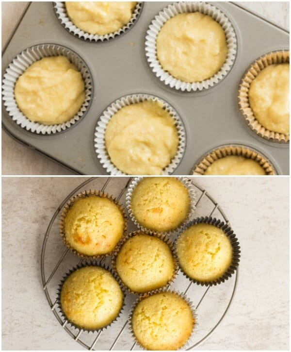cupcakes before and after baked in the muffin pan and on a wire rack
