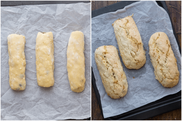 almond biscotti forming into logs, then baked