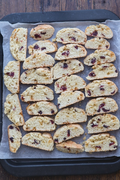 almond biscotti sliced ready for the second bake