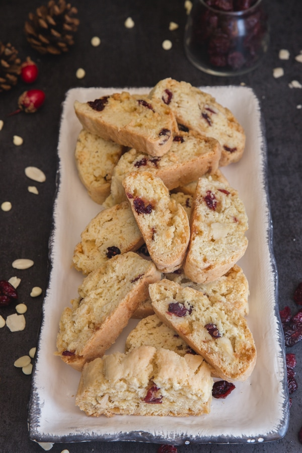 almond biscotti on a white plate