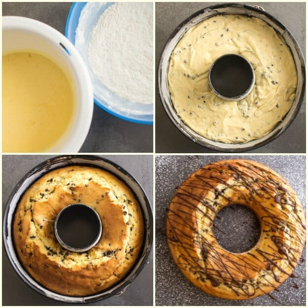 how to photos of chocolate chip bundt cake batter in the cake pan, baked and drizzled with chocolate