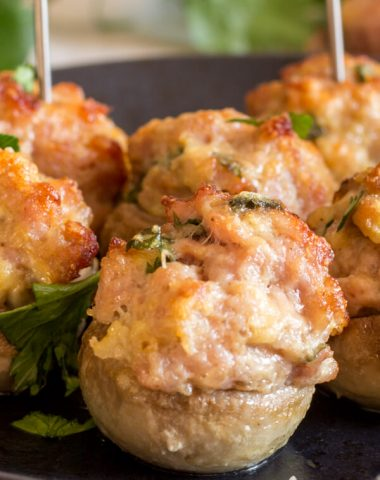 Baked Italian Sausage and Parmesan Stuffed Mushrooms, fast and easy stuffed mushroom recipe, Sausage & Parmesan make them irresistible.