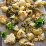 Crusty Parmesan Roasted Cauliflower, a yummy , tasty blend of roasted cauliflower topped with parmesan cheese, breadcrumbs and spices.